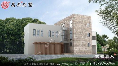 二层现代风格别墅设计图,含有房间内停车位,