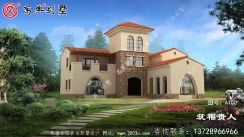 简单的西班牙风格三层别墅设计图,每个房间都有窗户,既美观又精致