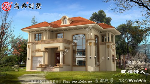 精典二层农村自建别墅设计图纸,含有室内车库设计