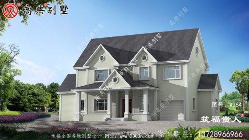 二层农村自建别墅设计图纸,含有房间内停车位