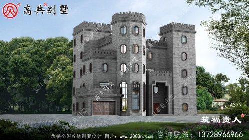 自建五层中式城堡别墅设计图美观精致,独户,经济实用。