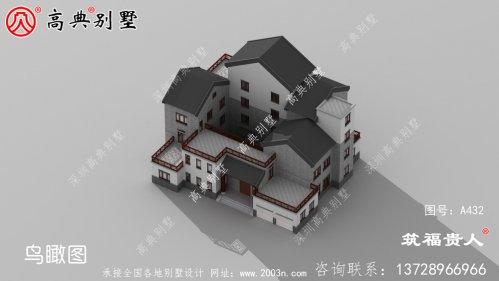 三层新中式农村自建别墅设计图纸,宏大壮阔,