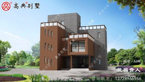 带车库的四层自建别墅,平屋顶别墅