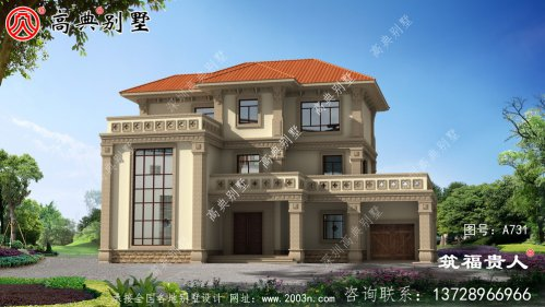 带室内车库的农村三层中式自建别墅设计,大气