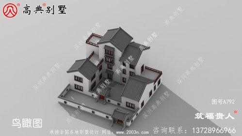 四层别墅外观效果图,四合院