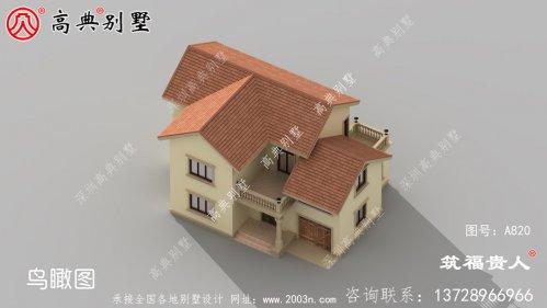 农村二楼自建别墅,有一个车库,精致美观。