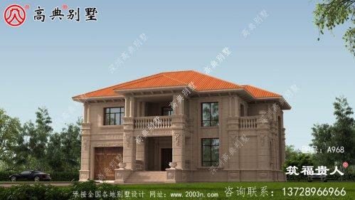 二层乡村小别墅设计图,石材别墅外型时尚