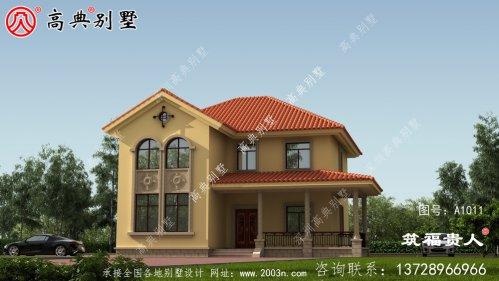 美式两层别墅设计,外观简单美观。