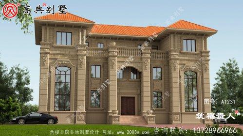 豪华三层别墅建筑设计,双拼别墅(两户)