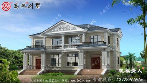 法式风格农村二层别墅设计图,双拼别墅(两户