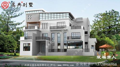 四层现代独栋别墅效果图
