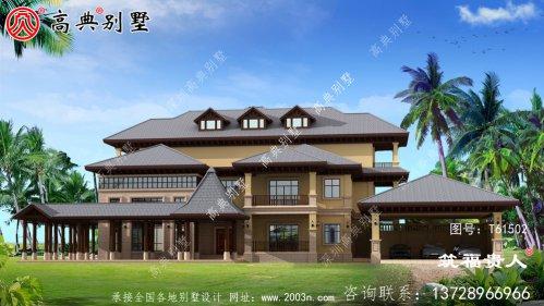 东南亚风格三层别墅建筑图纸