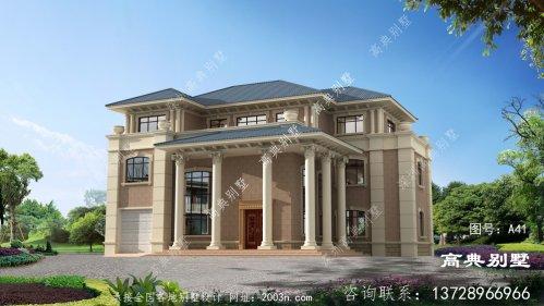 欧式三层复式别墅外观设计图纸
