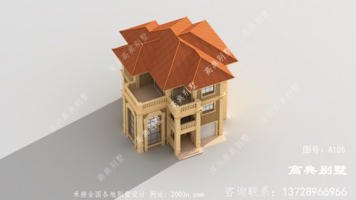 落地窗的欧式三层别墅设计图