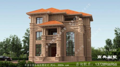 欧式风格三层石材别墅设计图