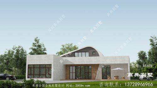 一层现代风格平屋顶别墅效果图
