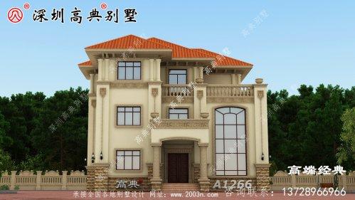 三层别墅设计图,时尚、简约、实用,在农村建
